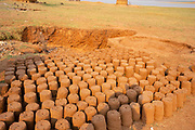 Mud bricks for building houses are sun dried at a Tonga fishing village on Lake Kariba, Zimbabwe