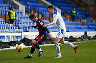 Tranmere Rovers midfielder Paul Lewis holding Bolton Wanderers midfielder Andrew Tutte during the EFL Sky Bet League 2 match between Tranmere Rovers and Bolton Wanderers at Prenton Park, Birkenhead, England on 23 January 2021.