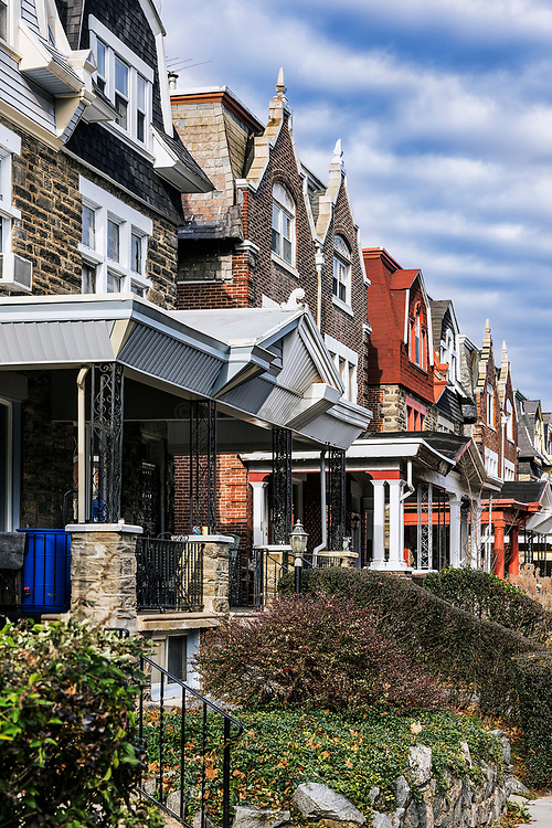 Row homes, Mt Airy, Philadelphia, Pennsylvania, USA