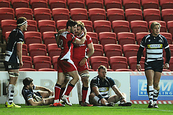 Ulster Number 8 Lorcan Dow celebrates his try with Ulster Inside Centre Sam Windsor - Mandatory byline: Dougie Allward/JMP - 22/01/2016 - RUGBY - Ashton Gate -Bristol,England - Bristol Rugby v Ulster Rugby - B&I Cup