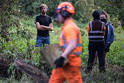 Denham, UK. 29th September, 2020. Environmental activists observe tree surgeons working on behalf of HS2 Ltd, facilitated by security guards, felling trees in Denham Country Park for works connected to the HS2 high-speed rail link. Anti-HS2 activists based at the nearby Denham Ford Protection Camp, who are trying to prevent or delay the destruction of the woodland, contend that the area of Denham Country Park currently being felled is not indicated for felling on documentation supplied by HS2 Ltd.
