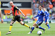 Birmingham's David Cotterill (l) plays the ball past Cardiff City's Peter Whittingham. Skybet football league championship match, Cardiff city v Birmingham city at the Cardiff city stadium in Cardiff, South Wales on Saturday 7th May 2016.<br /> pic by Carl Robertson, Andrew Orchard sports photography.
