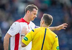Falkirk's David McCracken injured.<br /> Raith Rovers 0 v 0 Falkirk, Scottish Championship game played 27/9/2014 at Raith Rovers Stark Park.