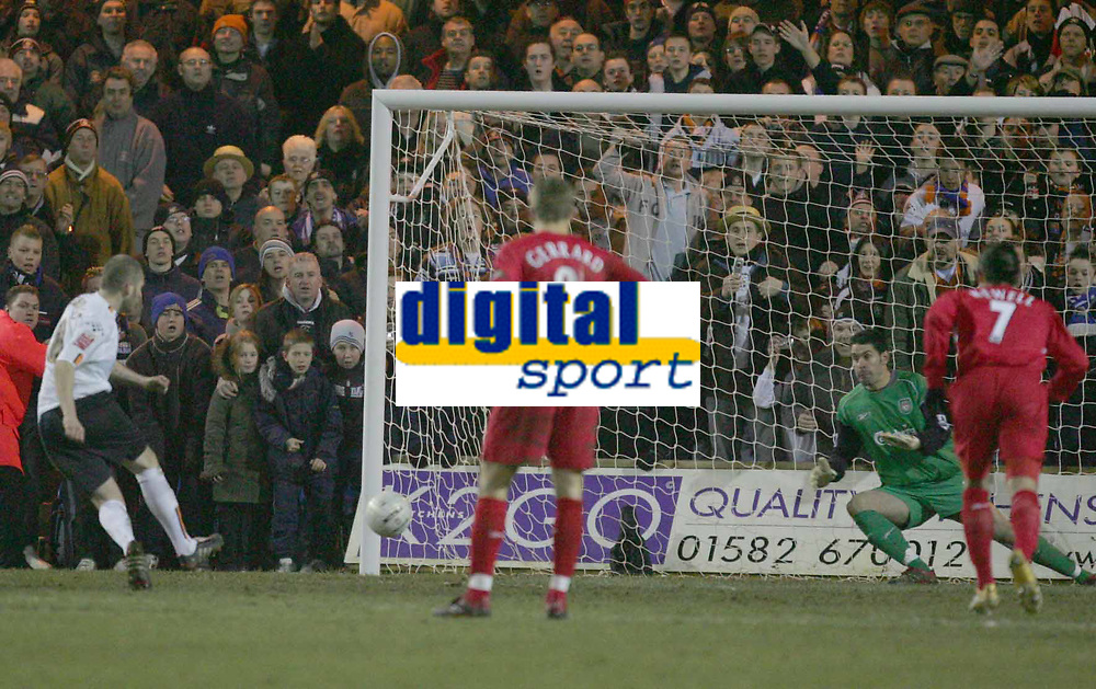 KEVIN NICHOLLS SCORES FROM THE SPOT 3RD GOAL FOR LUTON..PIC BY KIERAN GALVIN / COLORSPORT