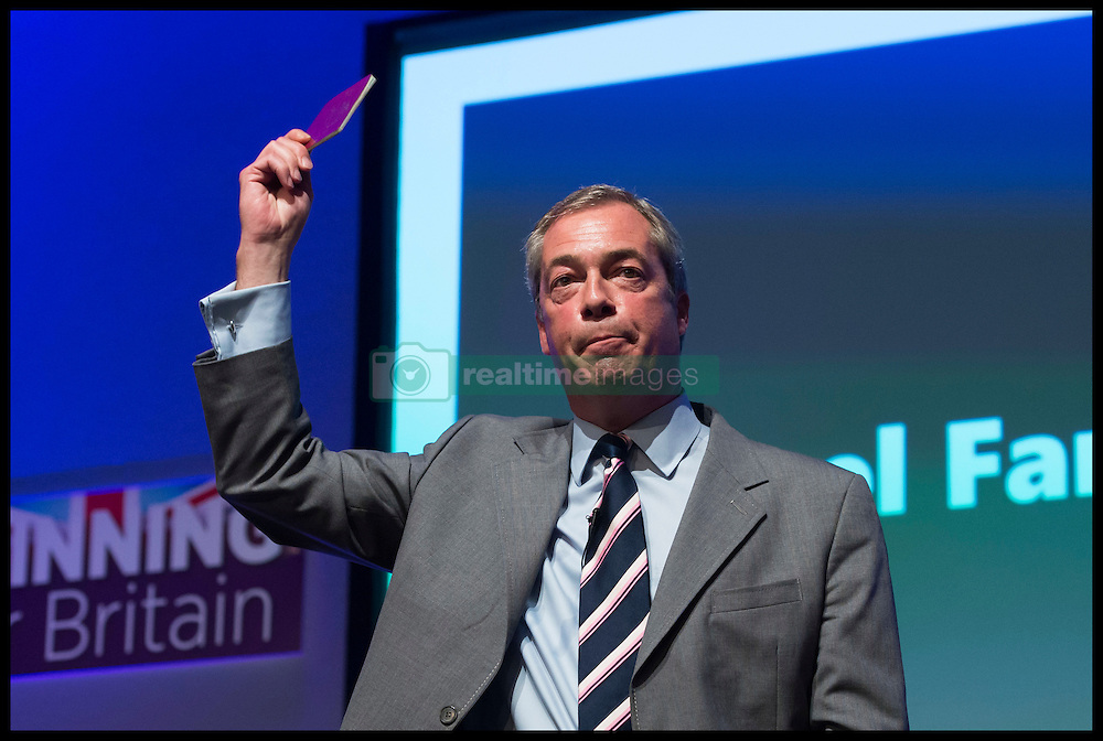 September 16, 2016 - Bournemouth, Hampshire, United Kingdom - Image ©Licensed to i-Images Picture Agency. 16/09/2016. Bournemouth, United Kingdom. ..UKIP 2016 National Conference at the Bournemouth International Centre, UK. ..Outgoing Party Leader Nigel Farage shows off his passport as he speaks at the BIC...Picture by Ben Stevens / i-Images (Credit Image: © Ben Stevens/i-Images via ZUMA Wire)