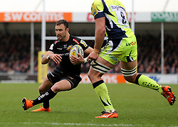 Exeter Chiefs' Nic White on his way to scoring a try during the Aviva Premiership match at Sandy Park, Exeter.