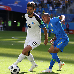 June 22, 2018 - St. Petersburg, Russia - June 22, 2018, Russia, St. Petersburg, FIFA World Cup 2018, First round, Group E, Second round, Brazil - Costa Rica at the St Petersburg stadium. Player of the national team Douglas Costa; Bryan Ruiz. (Credit Image: © Russian Look via ZUMA Wire)