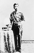 Emperor Taisho (1879-1926) 123rd emperor of Japan 1912-1926. Outside Japan sometimes called Emperor Yoshihito. Full-length portrait of Emperor in military uniform with order and decorations.