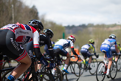 Vita Heine (NOR) of Hitec Products Cycling Team decends into Remouchamps during the Liege-Bastogne-Liege Femmes - a 135.5 km road race, between  Bastogne and Ans on April 23, 2017, in Liege, Belgium.