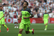 Philippe Coutinho of Liverpool celebrates after scoring his team's third goal. Premier league match, West Ham Utd v Liverpool at the London Stadium, Queen Elizabeth Olympic Park in London on Sunday 14th May 2017.<br /> pic by Steffan Bowen, Andrew Orchard sports photography.
