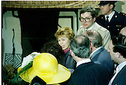 Raisa Gorbachev at Bunratty Folk Park.  (R99)..1989..02.04.1989..04.02.1989..2nd April 1989..While her husband, Russian President Mikhail Gorbachev,was working on state matters ,Mrs Gorbachev was taken on a tour of Bunratty Folk Park in Co Clare. The Gorbachevs were in Ireland as part of a tour of European Capitals...Image shows Mrs Gorbachev as she is about to be introduced to some of the ladies who work within the Folk Park