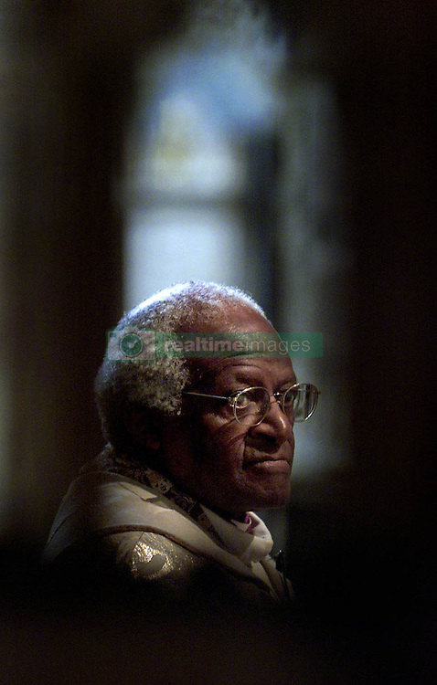 Archbishop Desmond Tutu during a service at Southwark cathedral, in London, during his visit to Britain for the end of the Celebrate South Africa festival.