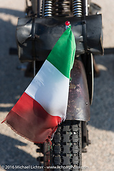 Flyinbg the Italian flag - Sante Mazza's 1926 Moto Frera during Stage 3 of the Motorcycle Cannonball Cross-Country Endurance Run, which on this day ran from Columbus, GA to Chatanooga, TN., USA. Sunday, September 7, 2014.  Photography ©2014 Michael Lichter.