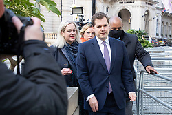 © Licensed to London News Pictures. 11/10/2020. London, UK. Secretary of State for Housing, Communities and Local Government Robert Jenrick arrives at the BBC. Later he will appear on the Andrew Marr Show. Photo credit: George Cracknell Wright/LNP