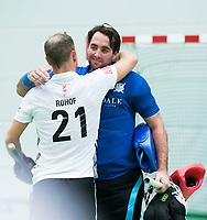 UTRECHT-Zaalhockey hoofdklasse.  Cartouche keeper Laurens Goedegebuure met Teun Rohof  (A'dam)  COPYRIGHT KOEN SUYK