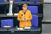 24 MAR 2021, BERLIN/GERMANY:<br /> Angela Merkel, CDU, Bundeskanzlerin, waehrend der Regierungsbefragung durch den Bundestag zur Bekaempfung der Corvid-19 Pandemie, Plenarsaal, Reichstagsgebaeude, Deutscher Bundestag<br /> IMAGE: 20210324-01-023<br /> KEYWORDS: Corona