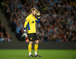 MANCHESTER, ENGLAND - Monday, April 30, 2012: Manchester United's goalkeeper David de Gea looks dejected as his side lose 1-0 to Manchester City during the Premiership match at the City of Manchester Stadium. (Pic by David Rawcliffe/Propaganda)