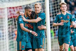 15-05-2019 NED: De Graafschap - Ajax, Doetinchem<br /> Round 34 / It wasn't really exciting anymore, but after the match against De Graafschap (1-4) it is official: Ajax is champion of the Netherlands / Nicolas Tagliafico #31 of Ajax scores 2-1. Assist Hakim Ziyech #22 of Ajax, Donny van de Beek #6 of Ajax, Frenkie de Jong #21 of Ajax