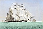 colourized Sketch of a China Tea Clipper from the book ' Pen and pencil sketches of shipping and craft all round the world ' by Pritchett, Robert Taylor Published in London in 1899