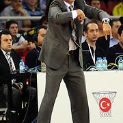 Banvit's coach Orhun ENE during their Turkish Basketball league semi final second leg match Fenerbahce Ulker between Banvit at Abdi Ipekci Arena in Istanbul, Turkey, Wednesday, May 12, 2010. Photo by TURKPIX