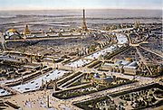 Bird's-eye view of the Paris Expositon of 1900, Eiffel Tower in the background. Chromolithograph.