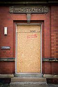 A boarded up and closed down magistrates court, Whitley Bay,  Northumberland. UK