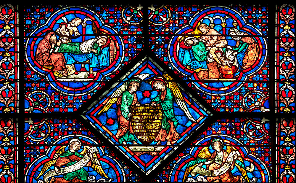 Medieval stained glass Window of the Gothic Cathedral of Chartres, France - dedicated to the Life and Miracles of St Nicholas. Replaced panels. A UNESCO World Heritage Site. .<br /> <br /> Visit our MEDIEVAL ART PHOTO COLLECTIONS for more   photos  to download or buy as prints https://funkystock.photoshelter.com/gallery-collection/Medieval-Middle-Ages-Art-Artefacts-Antiquities-Pictures-Images-of/C0000YpKXiAHnG2k