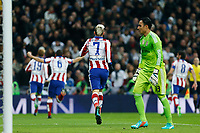 Real Madrid´s Keylor Navas (R) and Atletico de Madrid´s players celebrate a goal during Spanish King´s Cup match at Santiago Bernabeu stadium in Madrid, Spain. January 15, 2015. (ALTERPHOTOS/Victor Blanco)