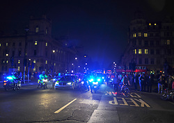 The annual 'Million Mask March' demonstration took place around around central London. A small number of protesters turned out and walked around central London closely followed by police. London, 05 November 2018.
