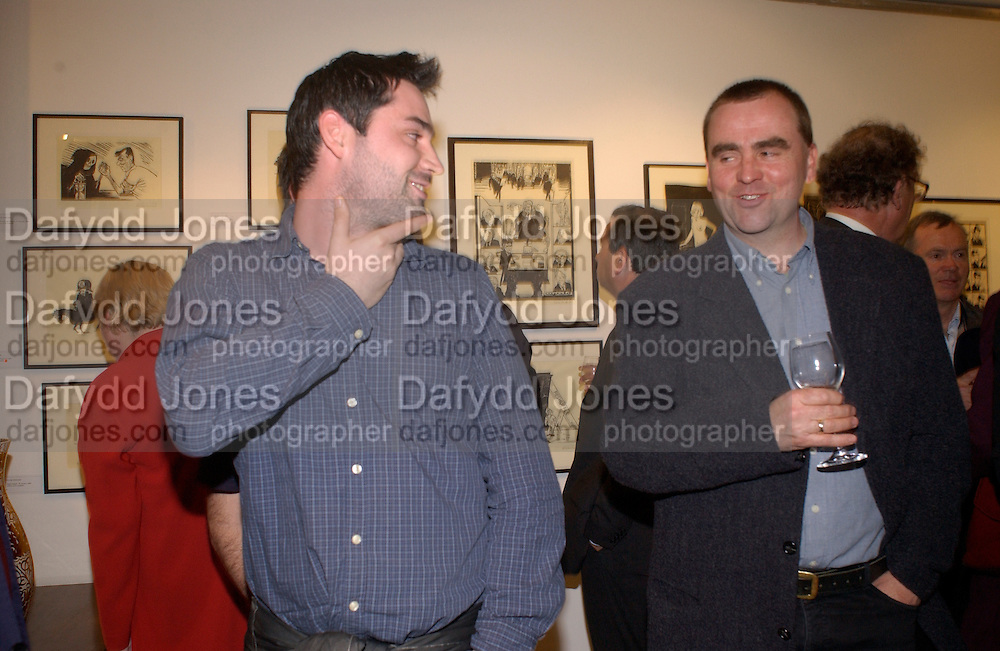 Alex Garland and Tim Garland. Nicholas Garland prints and drawings, Fine Art Society. 13 May 2003. © Copyright Photograph by Dafydd Jones 66 Stockwell Park Rd. London SW9 0DA Tel 020 7733 0108 www.dafjones.com