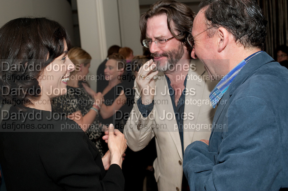TARA FITZGERALD; GREG DORAN; ANTONY SHER, The opening night of Broken Glass at the Vaudeville Theatre. Followed by  the after show party is at One Aldwych. London. 16 September 2011. <br />  , -DO NOT ARCHIVE-© Copyright Photograph by Dafydd Jones. 248 Clapham Rd. London SW9 0PZ. Tel 0207 820 0771. www.dafjones.com.