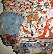 Nebamun hunting in the marshes. Nebamun is in a small boat, hunting birds with his wife Hatshepsut and their young daughter in the marshes of the Nile. Scenes of leisure had already been traditional parts of tomb chapel decoration for centuries and they shoed the tomb owner enjoying himself and seeing beauty in the afterlife.