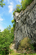 Aide Jebb on the top pitch of The Prow, 7c+, Raven Tor, Millers Dale