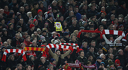 Liverpool fans before the match hold up anti-Sun posters and banners - Mandatory by-line: Jack Phillips/JMP - 11/02/2017 - FOOTBALL - Anfield - Liverpool, England - Liverpool v Tottenham Hotspur - Premier League