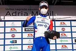 Winner Marjin van den Berg (Groupama – FDJ)  celebrates at Trophy ceremony during cycling race 6th Grand Prix Adria Mobil 2021, on March 28, 2021, in Novo mesto, Slovenia. Photo by Vid Ponikvar / Sportida