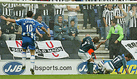 Photo: Aidan Ellis.<br /> Wigan Athletic v Newcastle United. The Barclays Premiership. 15/10/2005.<br /> Newcastle's Steven Carr and Scott Parker cant keep out Damian francis shot for Wigan's first goal