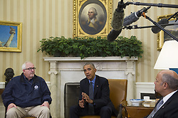 October 7, 2016 - Washington, District of Columbia, United States of America - United States President Barack Obama (center) offers remarks while meeting with U.S. Secretary of Homeland Security Jeh Johnson (right) U.S. Federal Emergency Management Agency Administrator Craig Fugate (left) and Deputy Homeland Security Advisor Amy Pope in the Oval Office of the White House  in Washington, D.C., U.S., on Friday, October 7, 2016. .Credit: Rod Lamkey Jr. / Pool via CNP (Credit Image: © Rod Lamkey Jr/CNP via ZUMA Wire)