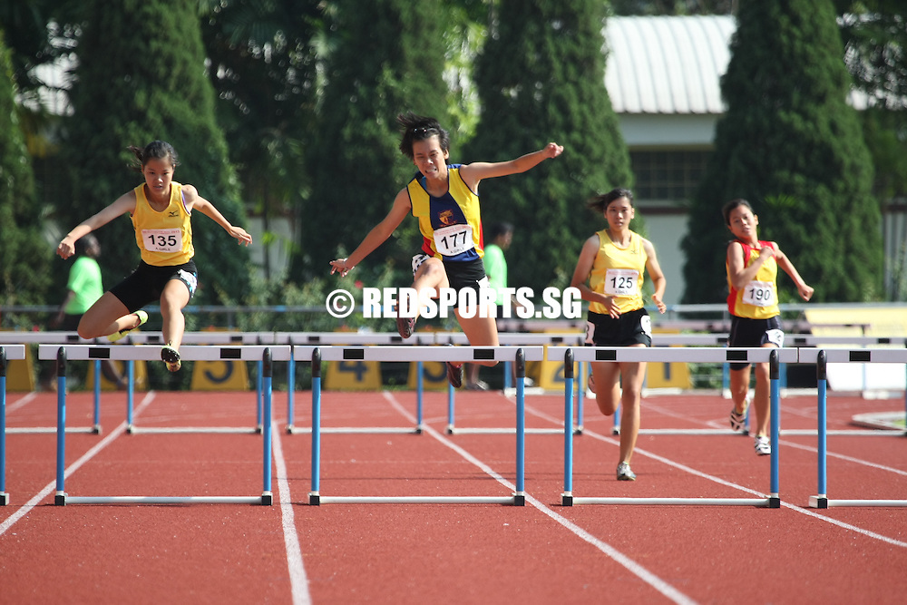Choa Chu Kang Sports Complex, Monday, April 15, 2013 — Clarice Mak of Victoria Junior College (VJC) emerged victorious in the A Division girls' 400 metres hurdles final, clocking a time of 1 minute 8 seconds at the 54th National Schools Track and Field Championships.<br /> <br /> Story: http://www.redsports.sg/2013/04/20/a-div-girls-400m-hurdles-clarice-mak-victoria-junior-college/