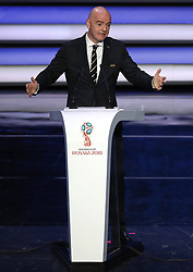 FIFA President Gianni Infantino during the FIFA 2018 World Cup draw at The Kremlin, Moscow. PRESS ASSOCIATION Photo Picture date: Friday December 1, 2017. See PA story SOCCER World Cup. Photo credit should read: Nick Potts/PA Wire. RESTICTIONS: Editorial use only. No transmission of sound or moving images. No use with any unofficial third party logos. No altering or adjusting of photographs.