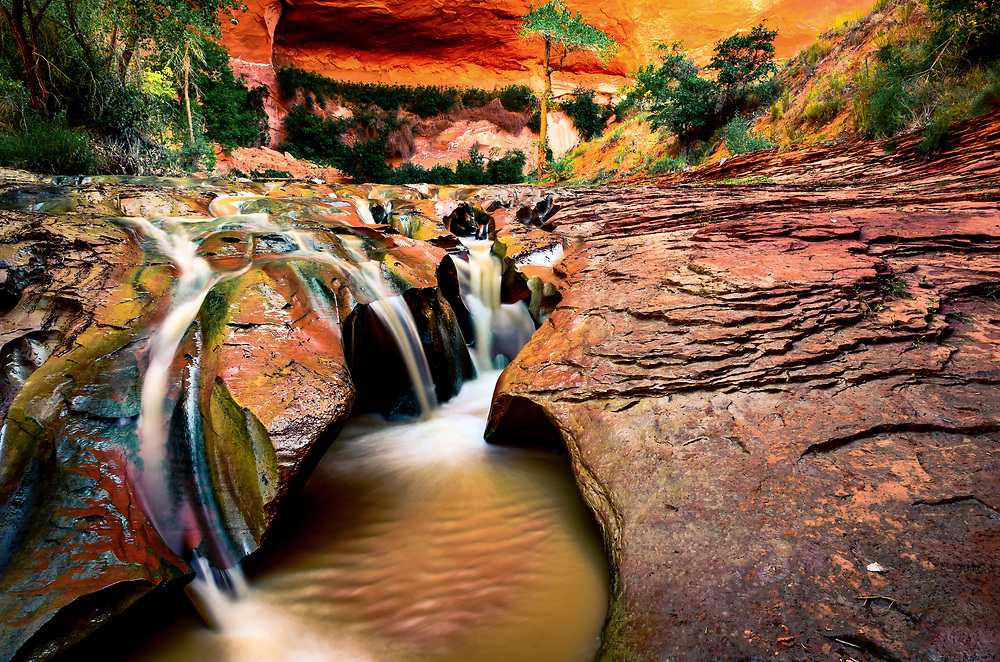 Triple waterfall at Coyote Gulch