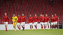 Det danske hold går på banen til UEFA Nations League kampen mellem Danmark og Belgien den 5. september 2020 i Parken, København (Foto: Claus Birch).