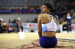 Great Britain's Abigail Irozuru during the Women's Long Jump Finals during day three of the European Indoor Athletics Championships at the Emirates Arena, Glasgow.
