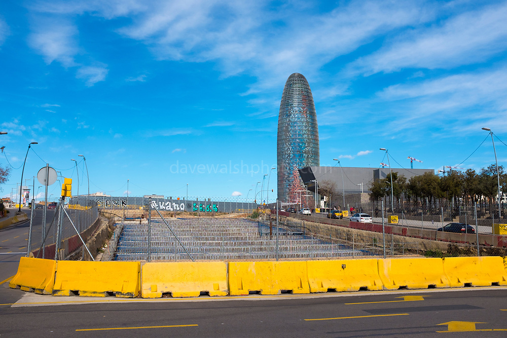 Agbar Tower and Disseny de Barcelona near construction site in Glories.