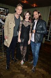 Left to right, JACK FOX, SAI BENNETT and SCOTT WALKER at the Lancôme BAFTA Dinner held at The Cafe Royal, Regent's Street, London on 6th February 2015.