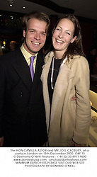 The HON.CAMILLA ASTOR and MR JOEL CADBURY, at a party in London on 13th December 2000.OKF 13