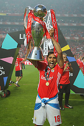 May 13, 2017 - Lisbon, Lisbon, Portugal - Benficas forward Toto Salvio from Argentina celebrating the tetra title with his team mates after the match between SL Benfica and Vitoria SC for the Portuguese Primeira Liga at Estadio da Luz on May 13, 2017 in Lisbon, Portugal. (Credit Image: © Dpi/NurPhoto via ZUMA Press)