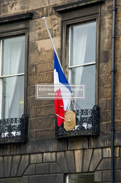 Floral tributes were left outside the Institut français d'Écosse  in Randolph Crescent in Edinburgh today in memory of the 84 killed in Nice yesterday<br /> <br /> (c) Ger Harley   Edinburgh Elite media