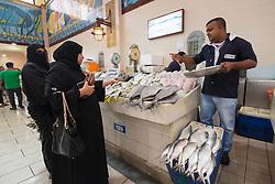 Interior of Fish market at Souq Sharq in Kuwait City, Kuwait.