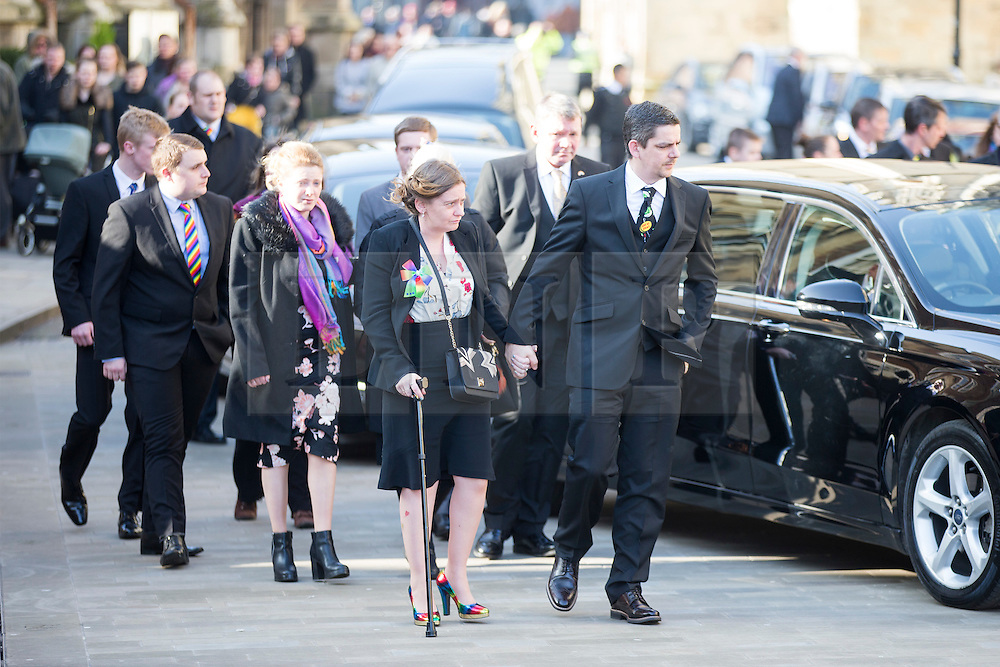 © Licensed to London News Pictures. 13/02/2017. York UK. Katie Roughs parents Paul & Alison arrive at The funeral of seven year old Katie Rough that has taken place at York Minster today led by the Archbishop of York Dr John Sentamu. Katie was found with severe lacerations to her neck & chest on a playing field in the Woodthorpe area of York on January 9th & pronounced dead at hospital. A 15 year old girl is due to appear in court later this week charged with her murder. Photo credit: Andrew McCaren/LNP