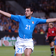 Italy's Christian Vieri celebrates scoring their opening goal